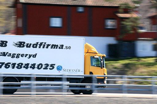 Truck, Yellow, Freeway, Courier Service, House