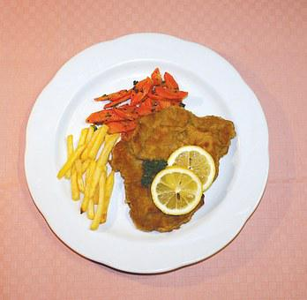 Schnitzel, Eat, Restaurant, French, Plate, Lemon