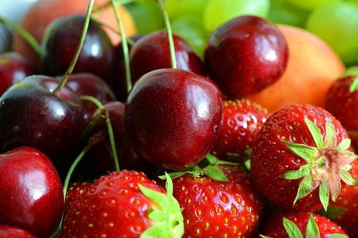 Fruit, Fruits, Fruit Basket, Cherries, Strawberries