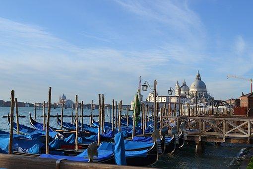 Venice, Gondola, Boats, Italy, City, Channel, Italia