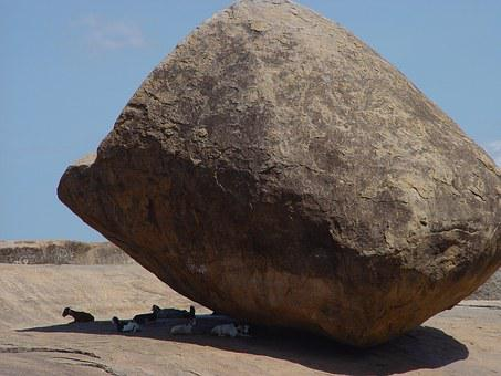 Rock, Krishna's Butterball, Boulder, India, South India