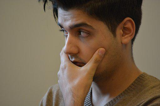 Man, Thoughtful, Afghan, Listening To, Face, Skeptical