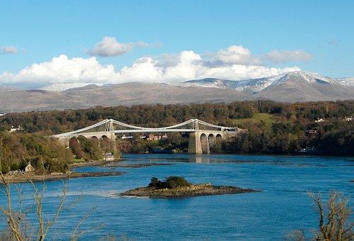 Menai, Bridge, Anglesey, Suspension, Wales, Thomas