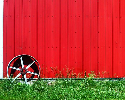Wheel, Wall, Red, Hut, Prefab, Plates, Metal