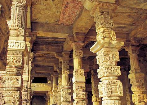 Delhi, Mosque, Great Mughal, Pillars, Sculptures