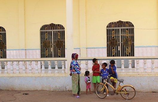Mosque, Cambodia, Family, Bicycle, Poor, Sanctuary