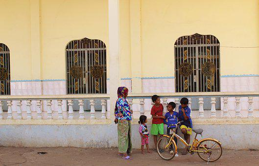Mosque, Cambodia, Family, Bicycle, Poor, Sanctuary