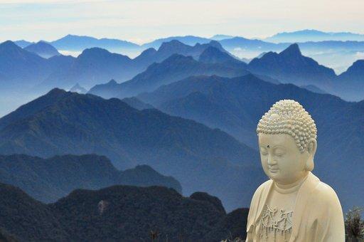Buddha, Mountains, Blue, Statue, Vietnam, Phan Xi Păng