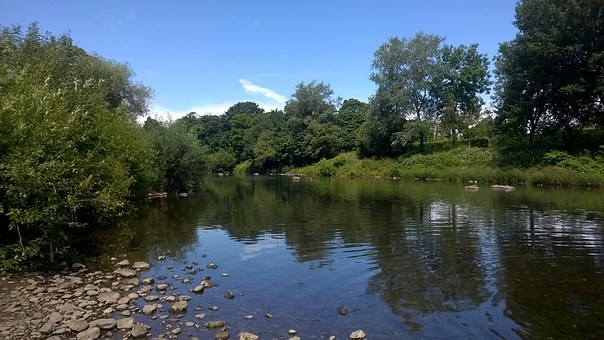 River, Still, Slow, Clam, Rocks, Summer, Wales, Water