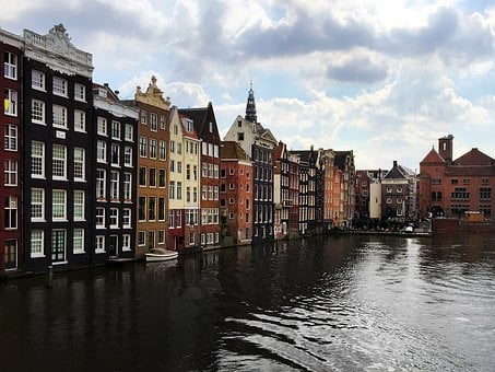 Amsterdam, Water, Bank, Houses, City, Clouds