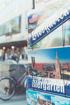 Munich, Beer Garden, Postcard, Places Of Interest
