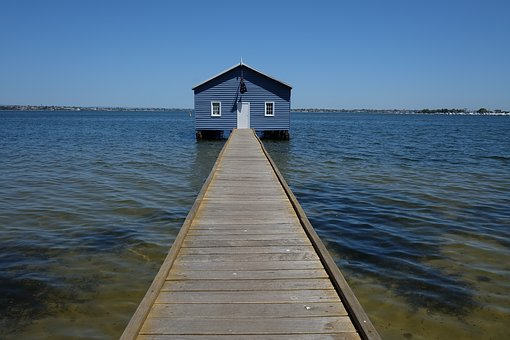 Perth, Boat House, Blue Boat House, Water, Sky