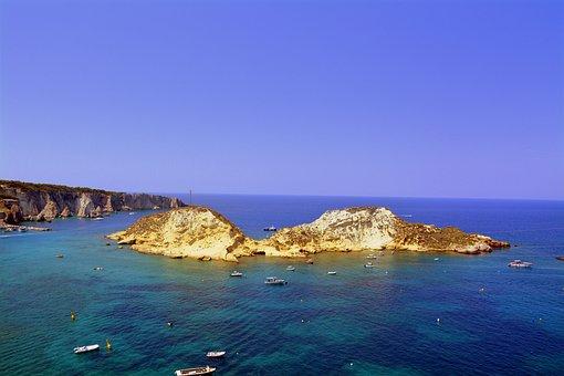 Island, Cretaccio, Sea, Boats, Tremiti Islands, Gargano