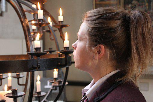 Woman, Young, Church, Candle, Prayer, Light, Flame