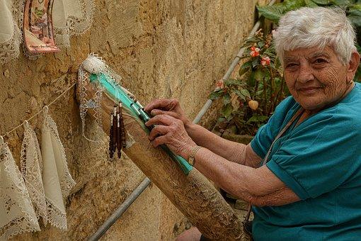 Lace-making, Old Lady, Handwork, Craft, Malta