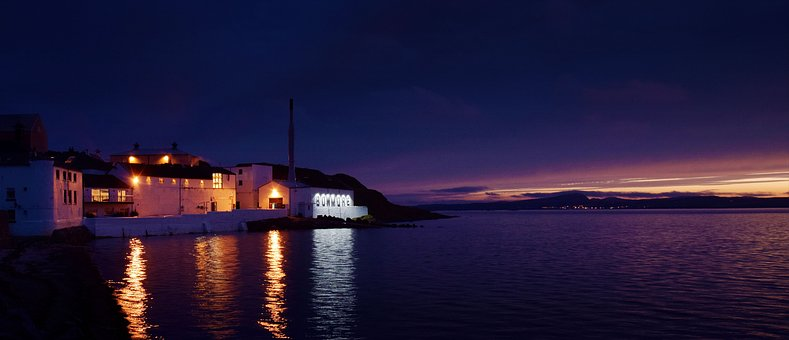Scotland, Distillery, Bowmore, Night, Sunset, Islay