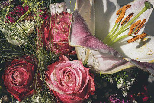 Bouquet Of Flowers, Roses, Lily, Pink, White, Flowers