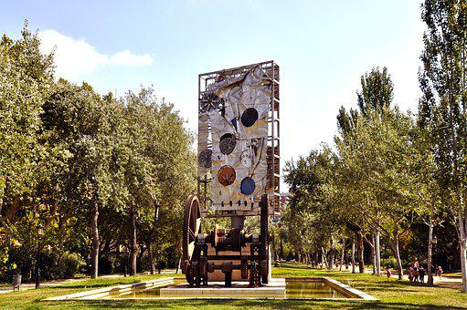 Park, Artwork, Barcelona, Art, Sculpture, Trees, Water