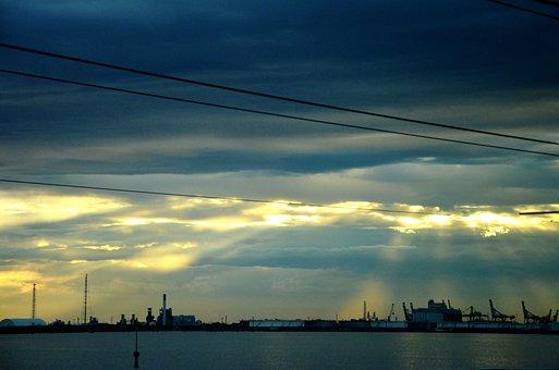 Venice, Mestre, Blue, Cables, Yellow, Landscape