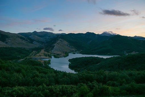 Lake, Sunset, Ruesga, Cervera