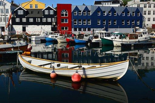Port, Boat, Mirroring, Water, Torshavn