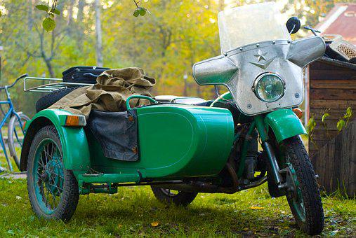 Motorcycle, Ural, Russia, Green