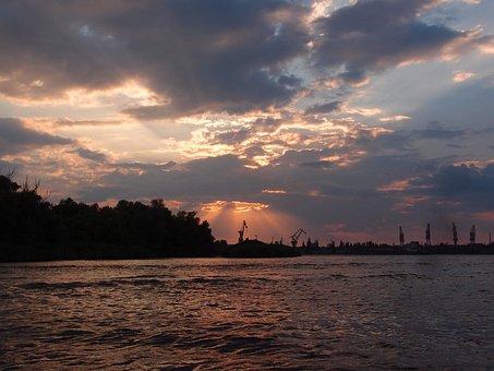Sunset, Kherson, Dnieper, River, Sky, Clouds, Port