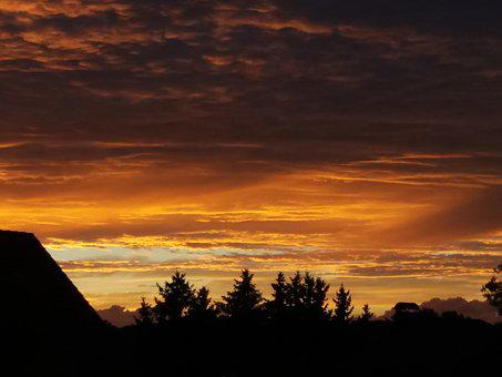 Sonenuntergang, Twilight, Afterglow, Rest, Sun, Orange