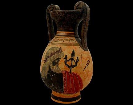 Vase, Greek, Antique, Amphora, Poseidon, Decorative