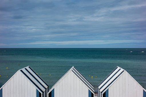 Beach, Cabin, Blue, Sea, Ocean, Side, Sky, Holiday