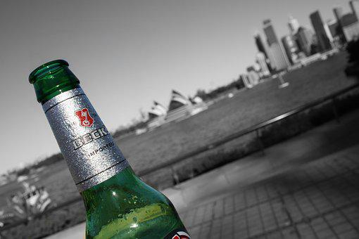 Down Under, Opera House, Becks, Beer, Black And White