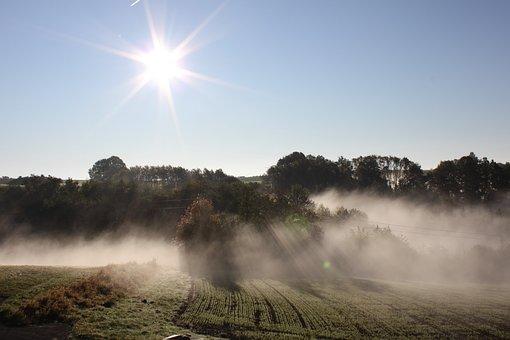 Sun, Fog, Panorama, Mood, Haze