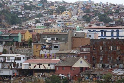 City, Hills, Houses