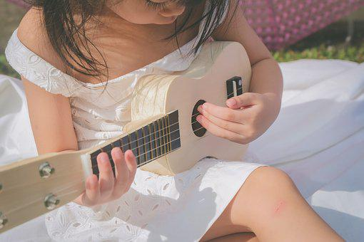 Kid, Guitar, Play, Girl, Childhood, Music, Cute