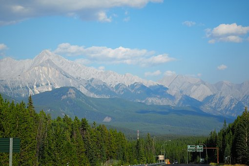 Scenic View, Green Forest, Mountains, Rockies, Blue Sky