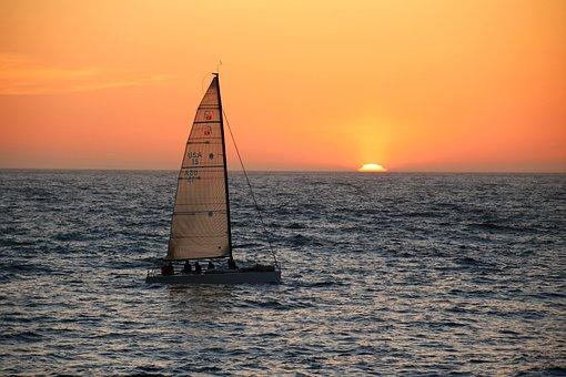 Seegeln, Seegelschiff, Sunset