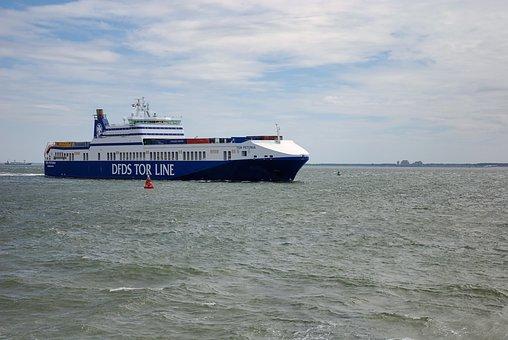 Ferry, North Sea, Ship, Vlissingen, Sea, Container