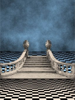 Background, Ballroom, Stairs, Staircase, Checkerboard
