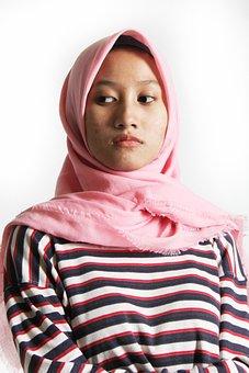 Women, Gorgeous, Model, Smile, Pink, Strips, Hijab