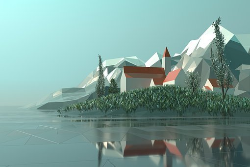 Low Poly, 3d, Rendering, City, Town, Italy, Toscana