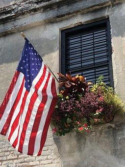 Flag, America, Window