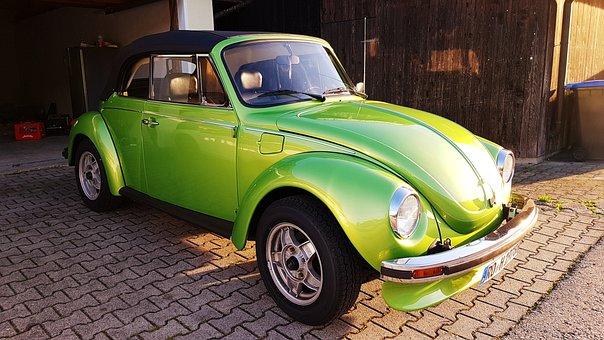 Oldtimer, Beetle, Cabriolet, Metallic, Green, Vw, 1303