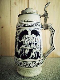 Ceramic, Blue, Decorative, Motif, Beer Mug, Design