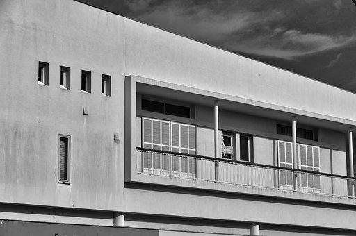 Architecture, Facade, Concrete, Black White, Building