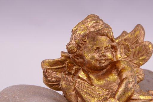 Angel, Gold, Cherub, Wing, Christmas, Decoration, Sky