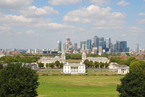 London, Skyline, Greenwich, Park, City, England