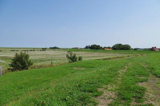 Dike, East Frisia, North Sea, Idyll, Peaceful