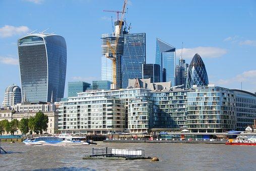 London, Thames, Buildings, Gherkin, England, River