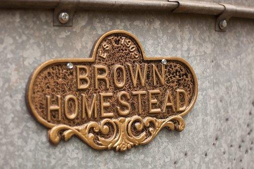 Brown, Homestead, Sign, Real-estate, House, Entrance