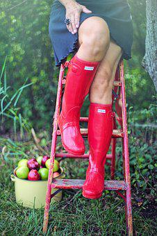 Red Boots, Fall, Autumn, Apples, Apple Picking, Woman